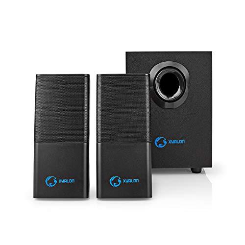 NEDIS Gaming-Lautsprecher Gaming-Lautsprecher - 2.1-Stereo-Sound - Spitzen-Ausgangsleistung 33 W - USB-betrieben - 3,5-mm-Klinke - RMS: 11 W - Mit Holzsubwoofer - 1,2 m Kabel Schwarz 1.20 m