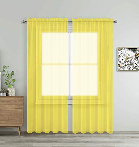"""WPM WORLD PRODUCTS MART Yellow Window Sheer Treatment Panels Beautiful Rod Pocket Voile Elegance Curtains Drapes for Living Room, Bedroom, Kitchen Fully Stitched, Set of 2 Yellow, 84"""" Inch Long"""