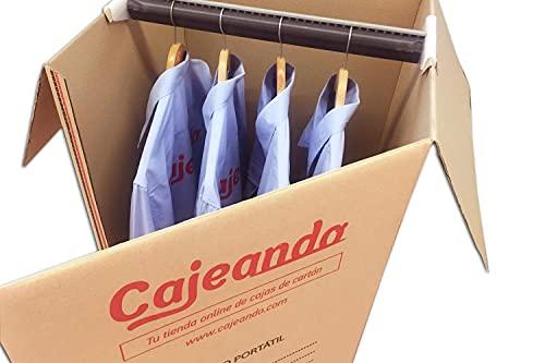Cajeando | Cuatro (4x) Cajas Armario de Cartón | Tamaño 50 x 50 x 101 cm | VARIOS PACKS | Color Marrón y Canal Doble | Mudanzas | Guardarropa | Incluyen 4 Barras Perchero | Fabricadas en España