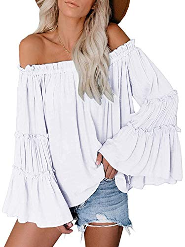 Womens Off The Shoulder Long Bell Sleeve Tops Flared Casual Loose Blouse (Z White, X-Large)