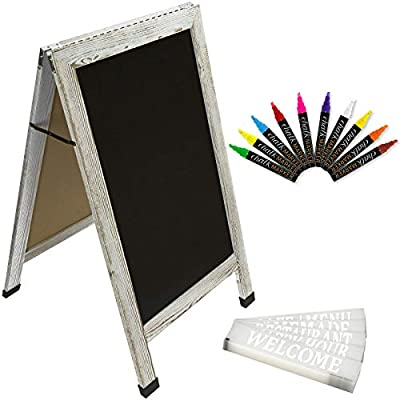 Sandwich Board Sidewalk Chalkboard Sign: Reinforced, Heavy-Duty / 10 Chalk Markers / 40 PC. Stencil Set/Chalk/Eraser/Double Sided/Large 40x23 Chalk Board Standing Sign A-Frame (Whitewash Grey)