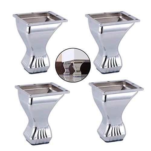 Zinklegering bank benen TV kabinet voeten, zilver metalen meubels benen, voor bank stoel dressoir kist van lades vervanging benen, pak van 4 (4,1 in/10,5 cm)