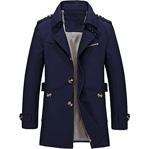 Hombres primavera otoño chaqueta larga casual rompevientos chaqueta hombres abrigo (Color :...