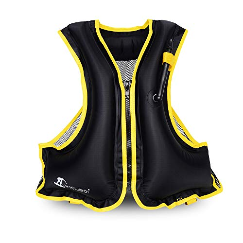 OMOUBOI  Adult Portable Inflatable Floatable Vest Swim vest, Life Jackets, Life Vest, Snorkel Vest, Snorkeling, Fishing Vest, Swimming,Drifting,Surfing, Diving, Boating, Kayaking, Canyoning (black)