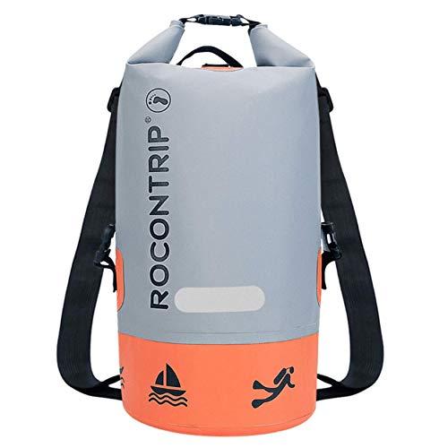 ROCONTRIP Borsa Impermeabile,Sacca Impermeabile da 10L/20L,Impermeabile con Zaino Dry Bag,Sacchetto Impermeabile,Cinghia Regolabile Lungo Perfetto per Sport Acquatici Adattamento(Arancione, 10 L)