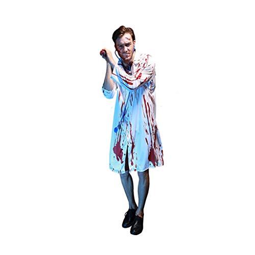 disfraces de halloween Traje de Halloween partido de la mascarada,sangrienta asustadiza doctor de sexo masculino de vestuario Contiene estetoscopio,zombi de vestuario mdico con sangre Disfraz cosplay