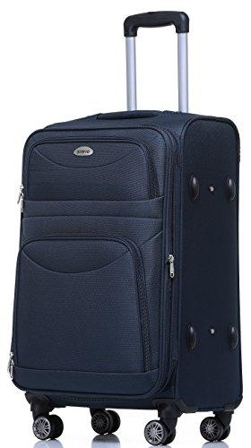BEIBYE 8009 TSA Schloß Stoff Trolley Reisekoffer Koffer Kofferset Gepäckset (Blau, L)