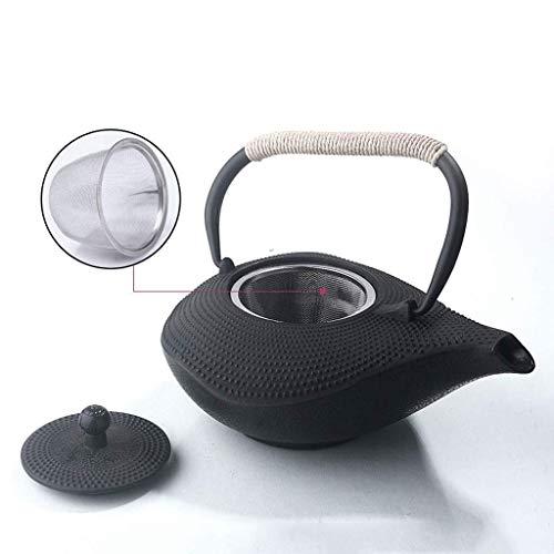 Teiera in Ghisa in Stile Giapponese con Infusore per tè Sfuso E Bustine di tè, Bollitore per tè con Motivo A Chiocciola per Piano Cottura, Forma Irregolare 1000 Ml.
