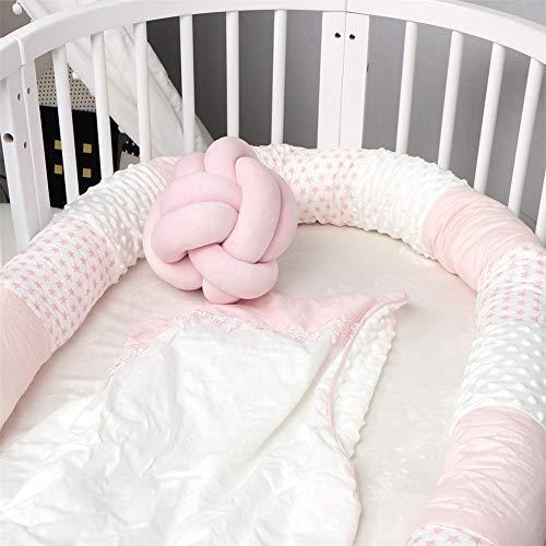 Protector De Cuna Para Bebé, Circunferencia De La Cama Para Niños Con Costuras Extra Largas, Circunferencia De La Cuna, Lavado Desmontable (Pink,250cm)