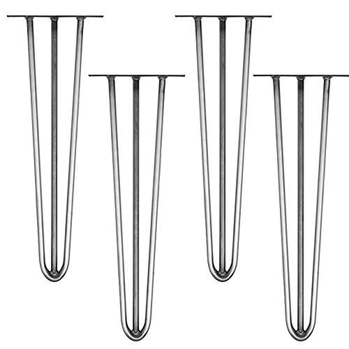 Melko 4 Stück Hairpin Legs Haarnadel Tischbeine aus 12 mm Stahl Tischfuß inkl. Bodenschoner, Höhe 72 cm, Stahl, 3 Streben