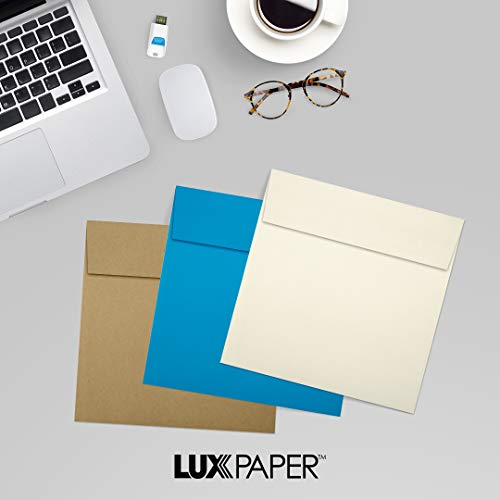 LUX Paper Square Invitation Envelopes for 6 1/4 x 6 1/4 Cards in 70 lb. Natural, Printable Envelopes for Invitations, with Peel & Press Seal, 50 Pack, Envelope Size 6 1/2 x 6 1/2 (Off-White) Photo #9