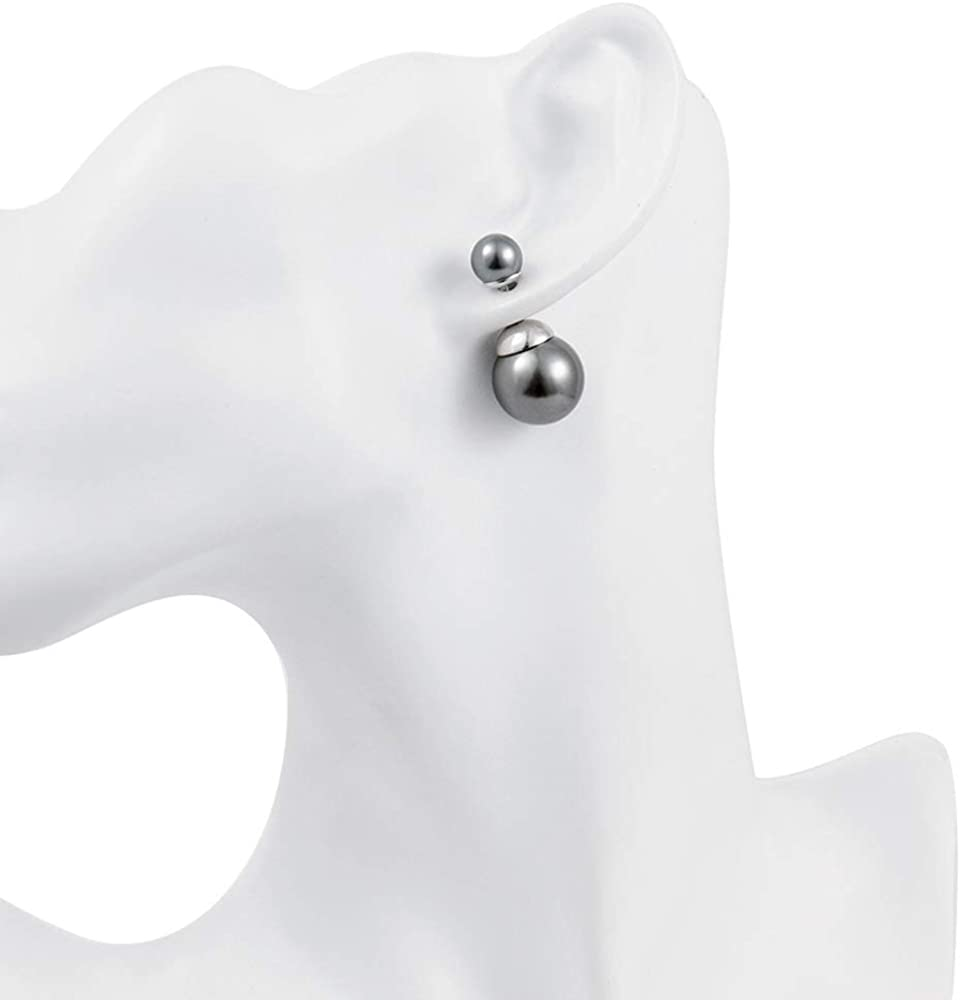 Crystal Dew Double Sided Pearl Stud Ball Earrings for Women Teen Girls