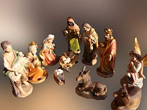 Hochwertige Krippenfiguren 12 er SET HANDBEMALT in edler Echtholz - Optik für Holz Weihnachtskrippe Zubehör, , MIT HOLZ-BOX KFK-Box - saubere Gesichtszüge , feine Mimik, handbemalte Krippenfiguren,