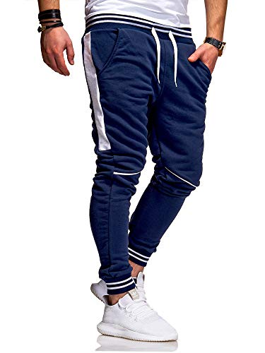 behype. Herren Lange Trainingshose Jogging-Hose Sport-Hose Kontrast-Stripes 60-3171 Navy-Weiß S
