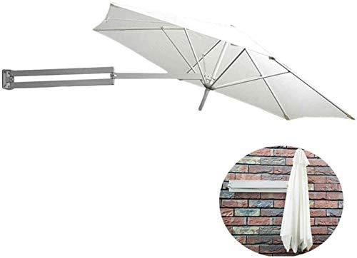 XINTONGSPP Wandhalbkreisförmige Sonnenschirme Regenschirme, 250cm Halb Sided Villa Hof Balkon Wandbehang Markise Dachterrasse Regenschirm Retractable Folding Sonnenschirm, cremeweiß
