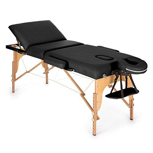 Klarfit MT 500 Massage Table 210 cm 200 kg Foldable Fine Cell Foam Bag (Customisable, Adjustable, 10cm Thick Padding) Black