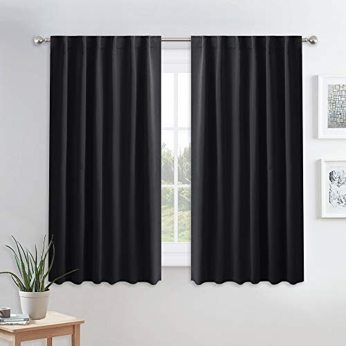 PONY DANCE Blackout Window Curtains - Insulating Against Drafts Drapes Noise Reducing Thermal Insulated Back Tab/Rod Pocket Draperies, 52 x 45-inch Long, Black, Double Panels