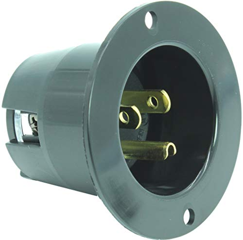 Journeyman-Pro 5278 15 Amp 120-125 Volt, NEMA 5-15 Flanged Inlet, Black Commercial Grade, 2 Pole-3 Wire, Straight Blade Plug Charger Receptacle