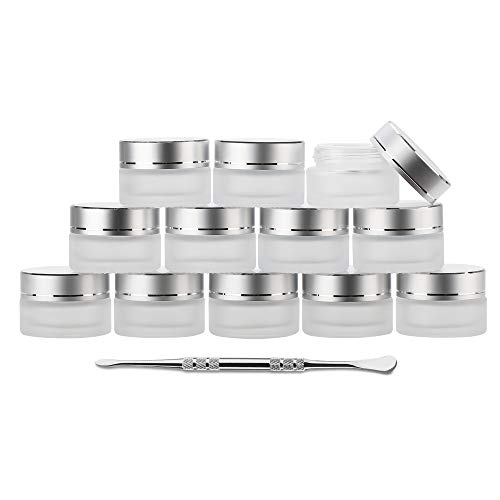 Coolpen UV Protection Small Glass Jars With Lids Reusable 5ml 10ml 20ml Black Food Glass Bottle Mini Airtight Container For Herb Oil Salve Cream leaf Storage 1 Wax Carving Tools (5ML, Frosted)