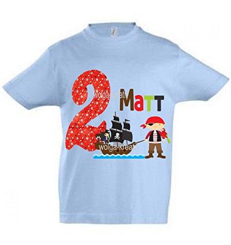 wolga-kreativ T-Shirt Geburtstag Junge ich Bin Schon 1 2 3 4 5 6 7 8 9 Jahre mit Namen Pirat Piratenschiff Geburtstagsshirt personalisiert Kindergeburtstag Geschenk Kinder