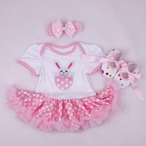 Een set van 20-22 inch kinderen pop jurk Tutu jumpsuit mooie konijn aardbei patroon klimpak kleding