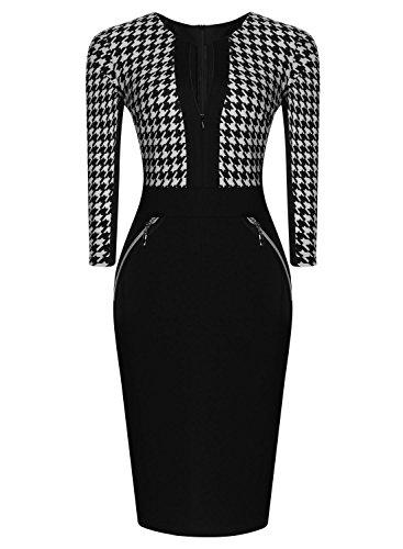 Miusol Damen Kleid Mit 3/4-Arm Hahnentritt Muster mit Reissverschluss vorne?Business Abendkleider Schwarz EU 44/46/XXL - 2