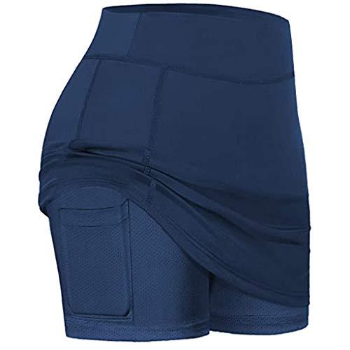 routinfly Falda corta de deporte para mujer, 2 en 1, con falda activa, atlética, pantalón deportivo para baile, tenis, hockey y running, pantalón interior, pantalón de verano