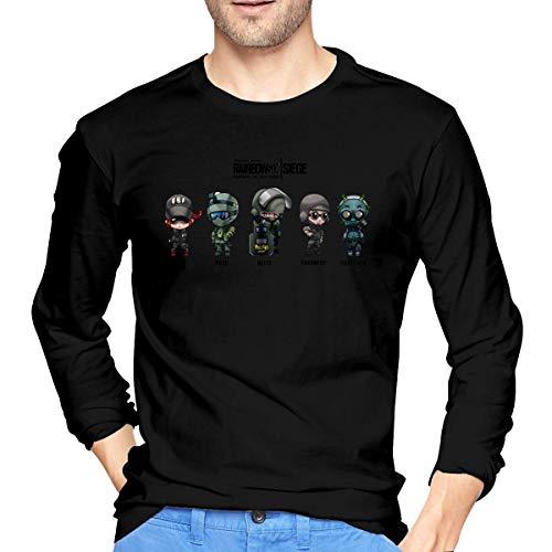 Henrnt Rainbow Six Siege Men's Comfort Soft Long Sleeve Outdoor T Shirt 100% Cotton Printing T-Shirts Tee Black