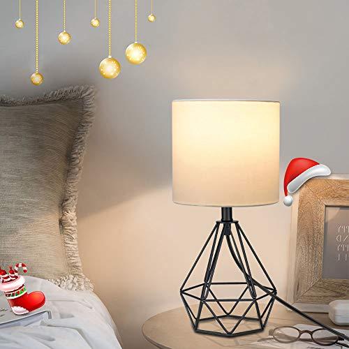 Depuley Vintage Tischlampe, Diamant Tischleuchte, Schwarze Tischlampe im Retro Körbchenstil, Nachttischlampe aus Stahl und Stoff, E27 für Schlafzimmer Büro Flur Esszimmer
