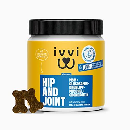ivvi Hip & Joint hochkonzentrierte Gelenktabletten für Hunde im Leckerlieformat für Gelenke und Hüfte mit Glucosamin, Kurkuma, Chondroitin, MSM & Grünlippmuschel Hund - 60 natürliche & leckere Snacks