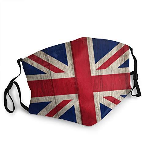 Waschbarer Mundschutz Anti-Staub-Gesichtsschutz,Vintage Großbritannien Großbritannien Flagge,Wiederverwendbar winddicht für Outdoor-Ski Radfahren Camping Laufen