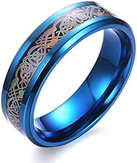 Personality Men's Titanium Steel Ring Stainless Steel Domineering Dragon Ring Carbon Fiber Ring Jewelry US12 blue