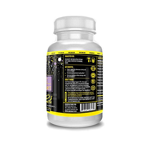 41NhMAzS5xL. SL500  - Actif Telomere Mega Support with 10+ Factors, Non-GMO, for Energy, Memory and Anti-Aging Support, Made in USA, 60 Count