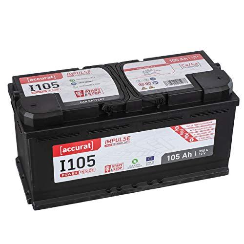 Preisvergleich Produktbild Accurat AGM Autobatterie Starter I105 12V 105Ah 950A für KFZ mit hohem Energiebedarf,  aufgerüsteter Ausstattung,  Start-Stop Fahrzeuge,  wartungsfrei