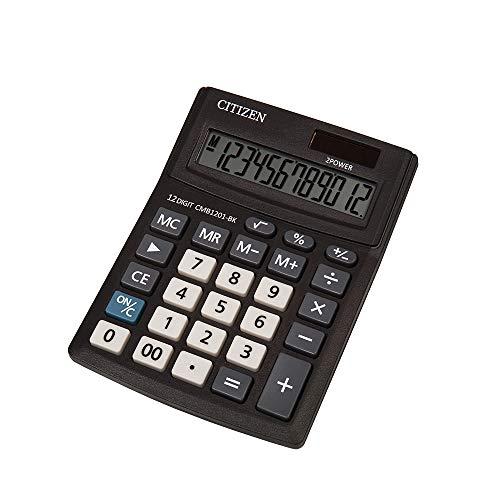 Citizen CMB 1201-BK Handlicher Taschenrechner, 12 Stellen, Solar und Batterie, Schwarz, 20,5 x 15,5 cm (TXB), 1 Stück
