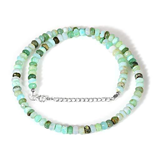 Natürliche peruanische Peru-Opal-Perlen-Halskette, Geburtsstein, Unisex, Statement-Halskette, winzige zierliche Halskette, blaue Opal-Halskette, mehrere Stein-Opal-Perlen-Halskette