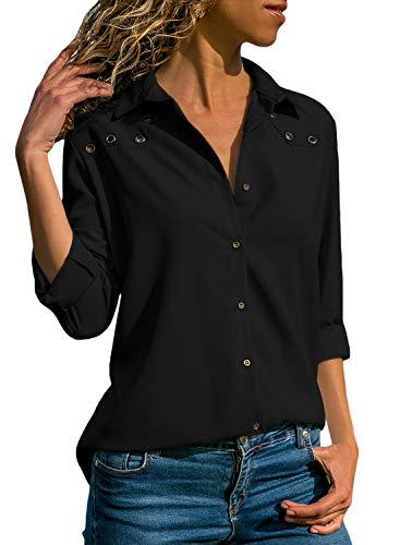 Aleumdr Bluse Damen Langarm hemdbluse V Ausschnitt Langarmshirt einfarbig Business mit Knopfleiste Hemd Oberteile Herbst und Sommer Revers Kragen,1-schwarz,S
