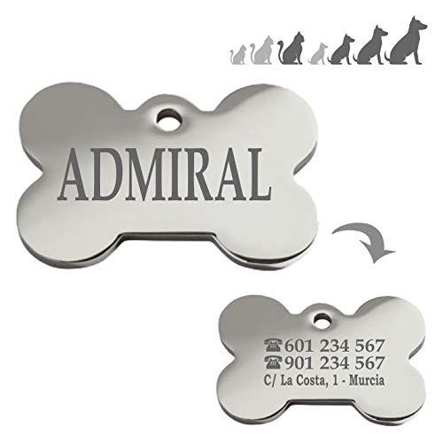 Iberiagifts - Placa Chapa Medalla de identificación Personalizada para Collar Perro Gato Mascota grabada en Acero Inoxidable
