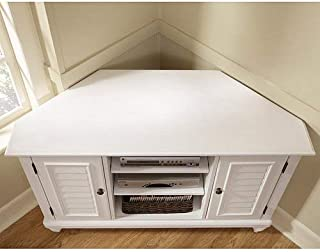 Home Styles Bermuda White Corner TV Stand with Adjustable Shelves, Two Storage Cabinets, Cable Access, Textured Brushed White Finish, Shutter Styling, and Turned Feet