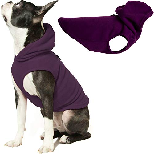 Gooby Dog Hoodie Fleece Vest - Plum, Medium - Pull Over Dog Jacket with Leash Ring - Winter Small Dog Sweater - Warm Dog Clothes for Small Dogs Girl or Boy Dog Vest for Indoor and Outdoor Use