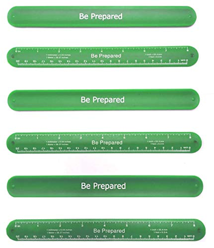 Girl Scout Be Prepared Slap Band Ruler: Pack of 6 - Great Item for Junior, Brownie, Daisy, Cadet and Senior Scouts. Green Color - Great Favors, swaps, Gift or Fun on add on Items , Accessories