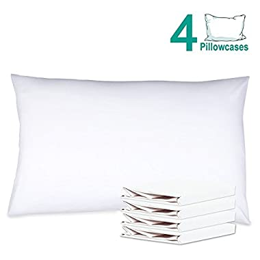 NTBAY 100% Brushed Microfiber Pillowcases Set of 4, Soft and Cozy, Wrinkle, Fade, Stain Resistant, 20 x 30 , White