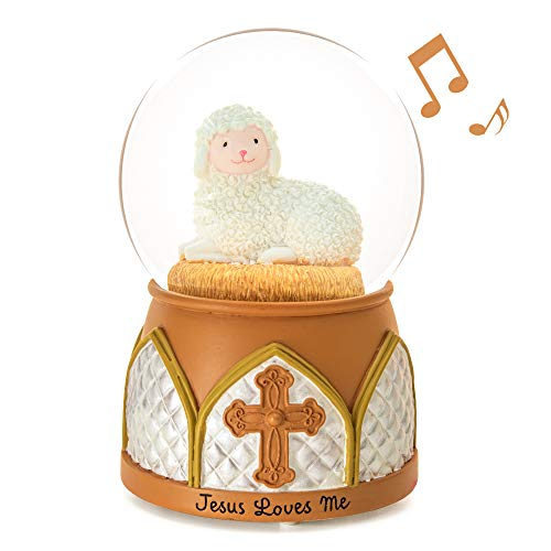 Jesus Snow Globe Music Box - Jesus Loves Me Musical Lamb Cross Precious Moments Religious Baptism Best Gift for Boys Girls Wife Girlfriends Kids Friend Baby Birthday Home Room Decor