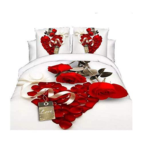 HOHAI 3D Hot Weiß Rot Rose Bettwäsche-Set Diamanten Bettbezug Doppelbett Bettlaken Kissenbezüge
