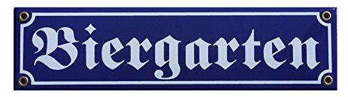 Bier Garten Emaille Schild Biergarten 8 x 30 cm Emailschild blau.