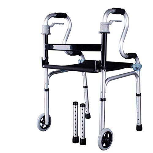 GEHHILFEAID Opvouwbare rollator Walker Opvouwbare lichtgewicht rugsteun met zitkussen met vier poten riethoogte verstelbaar voor volwassen senioren gehandicapt (Four-Wheeled Four-Legged Tube)