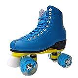 Retro Rollschuhe Disco Roller Skate Mit ABEC-7 Lager Und Langlebigen Rädern Rollschuhe Kinder Quad Skate Jungen Mädchen Rollschuhe Indoor (Blue, 37)