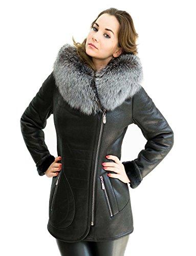 Unbekannt Winterjacke Silberfuchs Pelzkragen schwarz