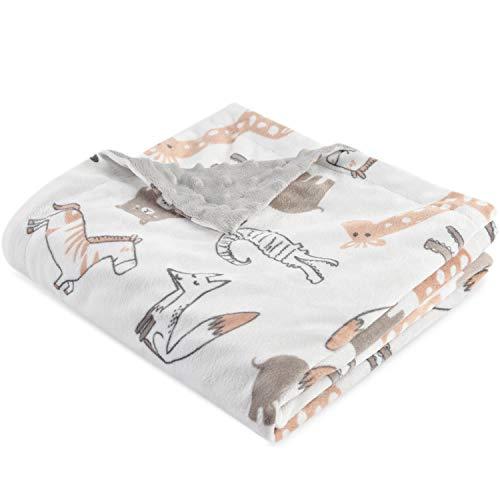Boritar Babydecke Kuscheldecke zweiseitige Minky mit gepunktetem Rücken Super weichem Für Mädchen und Jungen, Nettes braunes Tier, 75x100cm