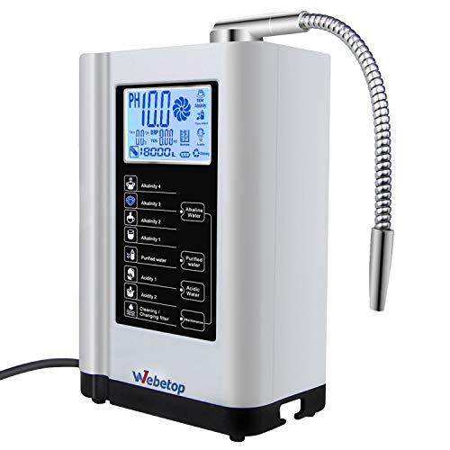 Webetop Water Ionizer Water Purifier Machine PH 3.5-10.5 Alkaline Acid Water Machine/7 Water Settings/up to -500mV ORP/6000 liters per Filter/Auto-Cleaning-Better Water
